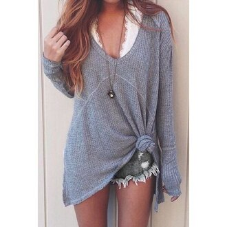 sweater fall outfits winter outfits hipster style rose wholesale top grey fashion long sleeves knitwear