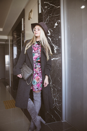 my blonde gal,blogger,dress,floral,long coat,suede boots,thigh high boots,coat,bag,hat,jewels,shoes