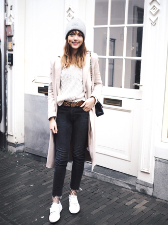 a dash of fash blogger sweater jeans hat coat bag shoes belt beanie pink coat moschino belt sneakers