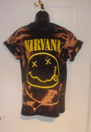 diy acid wash black nirvana t shirt grunge festival rock  | mysticclothing | ASOS Marketplace
