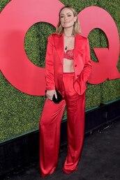 jacket,red,pants,blazer,celebrity,olivia wilde,suit