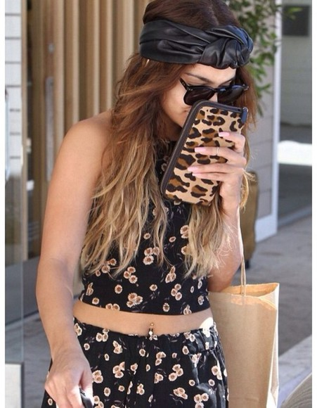 vanessa hudgens jewels black sunglasses bag hat headwear nail polish