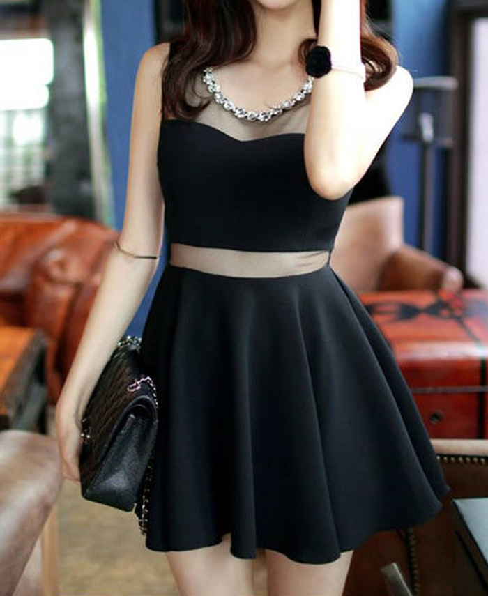Sleeveless solid color round collar slimming mesh splicing sexy dress for women (black,m)