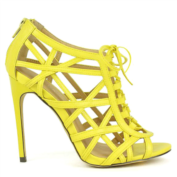 Cutesy Originals – Common-17 Yellow Mustard Strappy Peep toe Lace