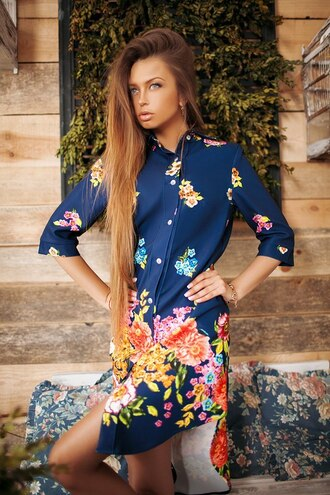 dress blue floral print dress dip hem shirt dress dark blue dress midi dress summer dress spring dress girls dress lady's dress fashion  dress stylish dress