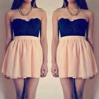 skirt pink shirt black bustier chiffon tank top jewels dress