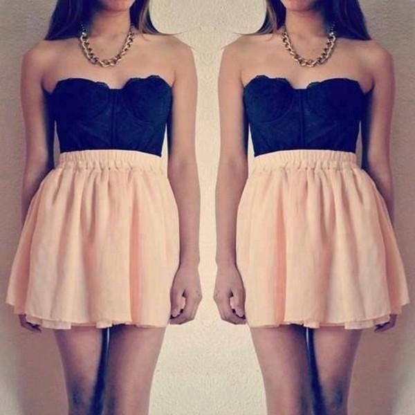 skirt pink shirt black bustier chiffon tank top jewels dress