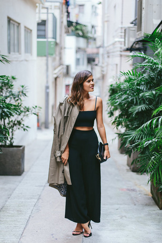 a pair and a spare blogger crop tops trench coat kookai