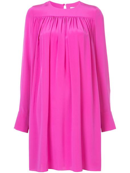 dress shift dress oversized pleated women silk purple pink