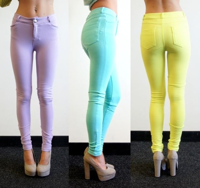 [SALE] PASTEL LILAC MINT NEON LIME SKINNY JEANS LOOK LEGGINGS PANTS 6 8 10 12 | eBay