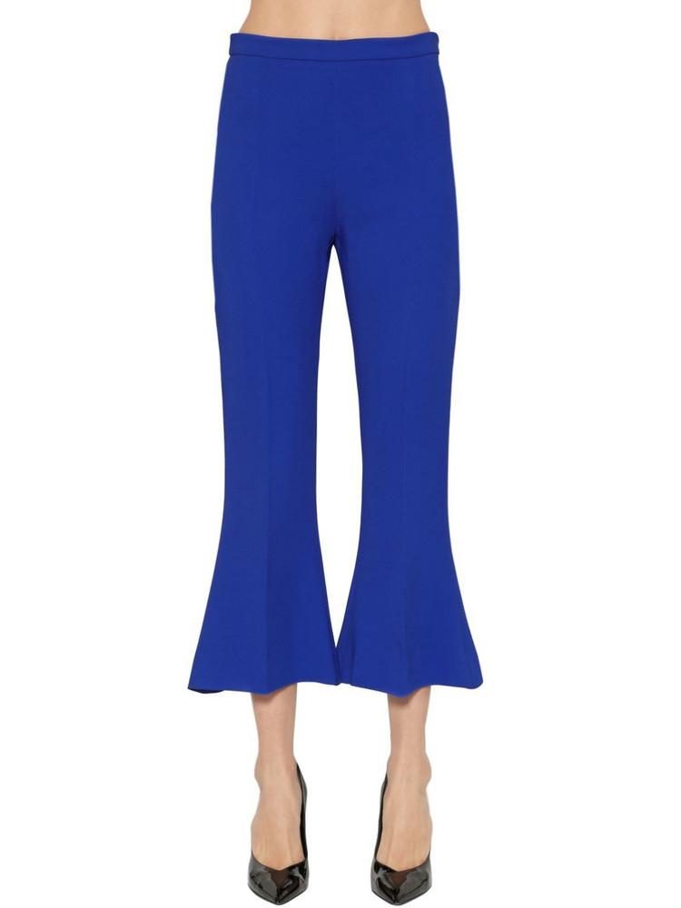 ANTONIO BERARDI High Waist Flared Cady Capri Pants in blue