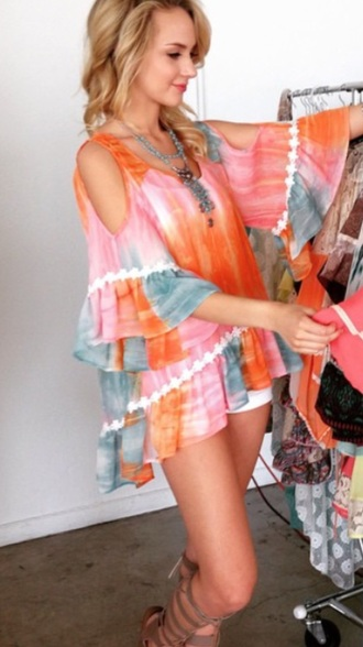 blouse orange pink colorful boho summer style fashion pink dress orange dress dress boho chic boho dress tye dye summer dress