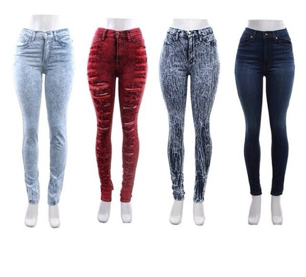 Jeans: ripped jeans, ripped, distressed high waisted jeans, acid ...