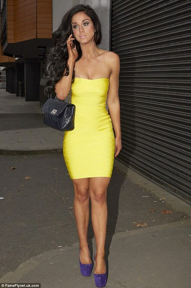 bustier dress strapless dresses dress bandage dress yellow bandage dress bandage dresses yellow dress yellow bright yellow dress
