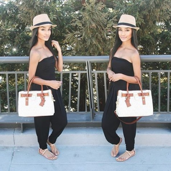 jumpsuit purse bag hat fedora sandals shoes