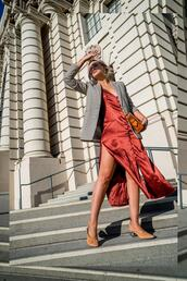 late afternoon,blogger,dress,jacket,shoes,bag,jewels,slip dress,blazer,fall outfits