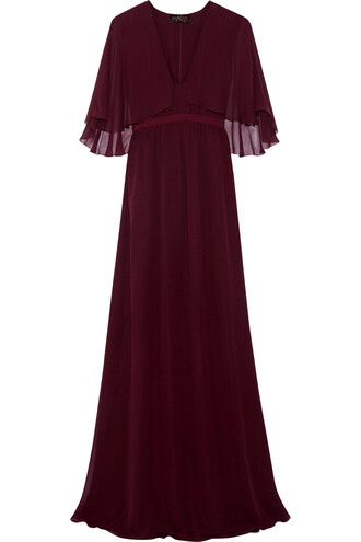 gown silk burgundy dress