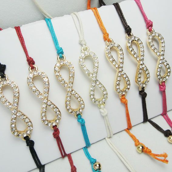 Exquisite Alloy Rhinestone Symbol Shape Women Hand-woven Rope Bracelet - DualShine