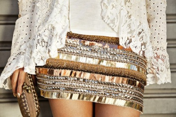 skirt mini skirt gold brown short sequins floral