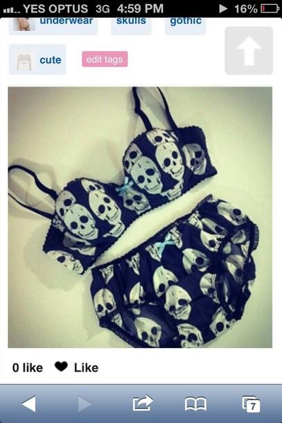 underwear skull skull bra black underwear