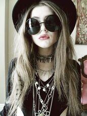 sunglasses,sunnies,grunge,soft grungec,tumblr girl,punk grunge,jewels