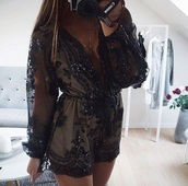 romper,jumpsuit,black dress,black sequin dress,sexy,elegant,sheer,sheer top,v neck,beautiful,nude,black,flowers,floral,one piece,black romper,long sleeve romper