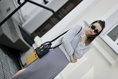 shiny sil,blogger,shoes,sweater,skirt,jewels,bag,grey sweater,grey skirt,black bag,phillip lim,black sunglasses,slit skirt