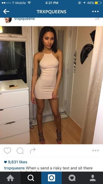 dress pink halter neck short