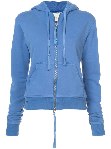Greg Lauren hoodie women cotton print blue sweater