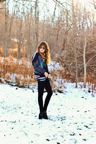 the marcy stop blogger jacket sunglasses blanket scarf