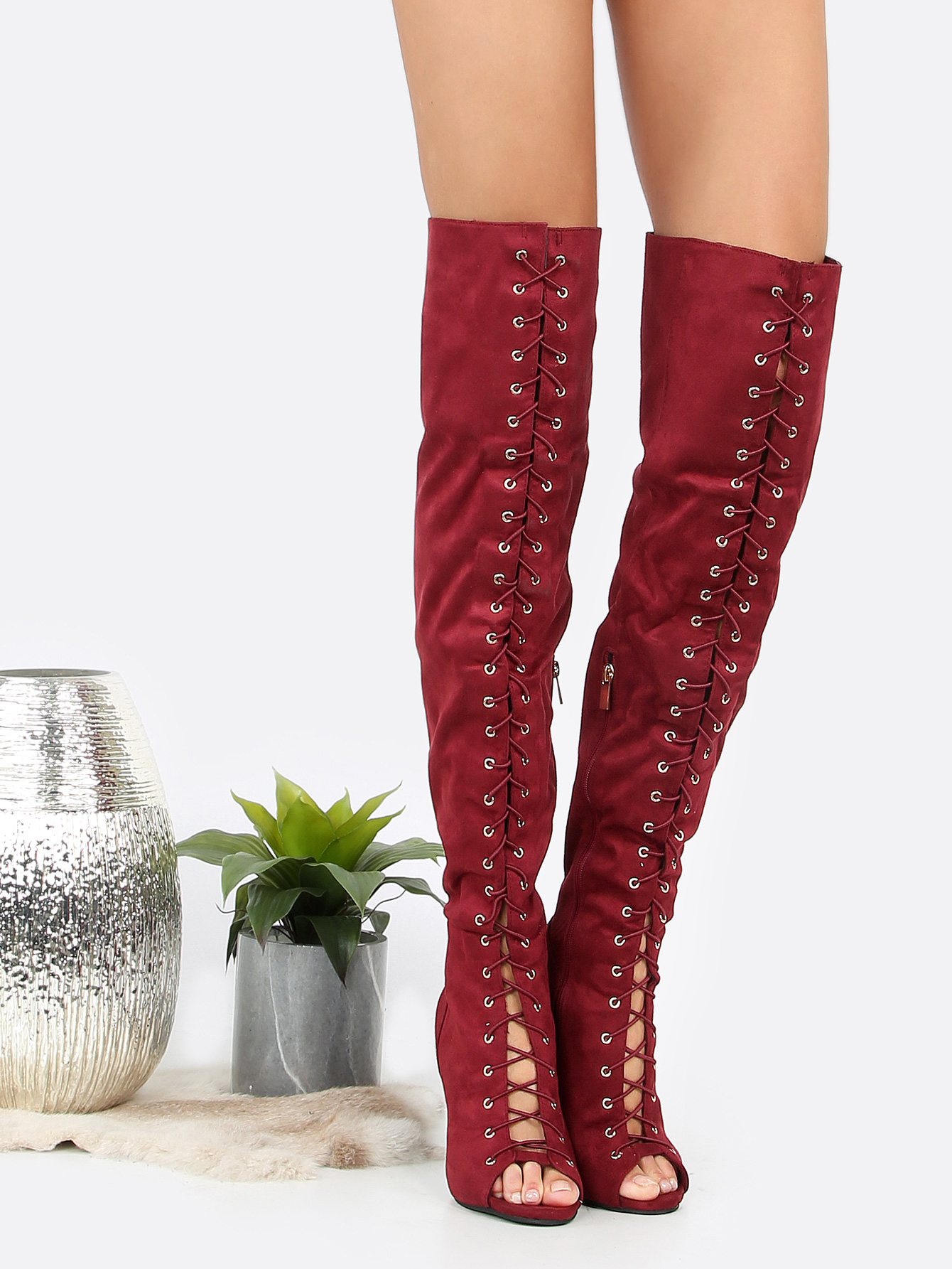 e62c0faee1 Over The Knee Lace Up Boot Heels BURGUNDY -SheIn(Sheinside)