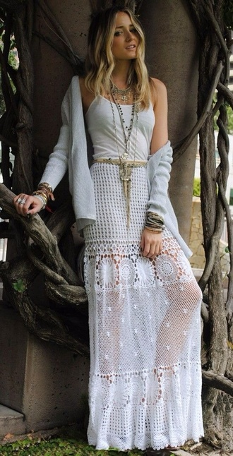 skirt maxi skirt lace white boho bohemian fashion