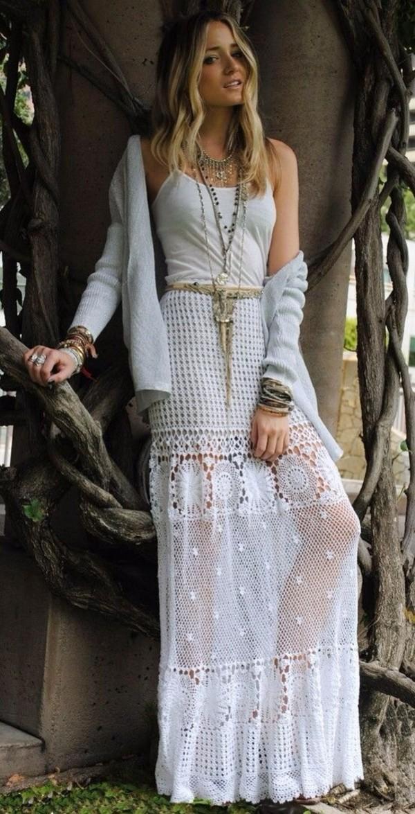 skirt maxi skirt lace white boho boho bohemian