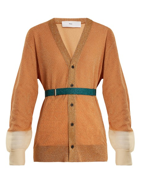 Toga cardigan cardigan mesh orange sweater
