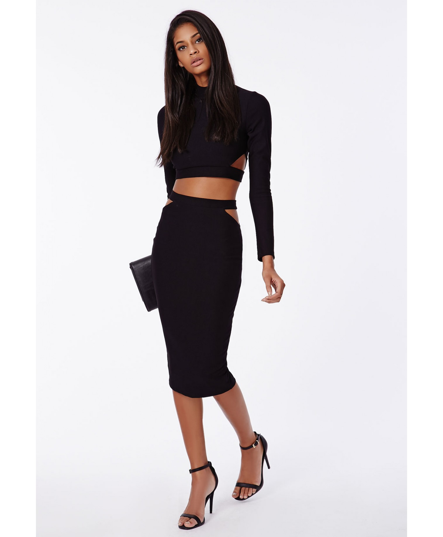 missguided x cut out midi skirt black