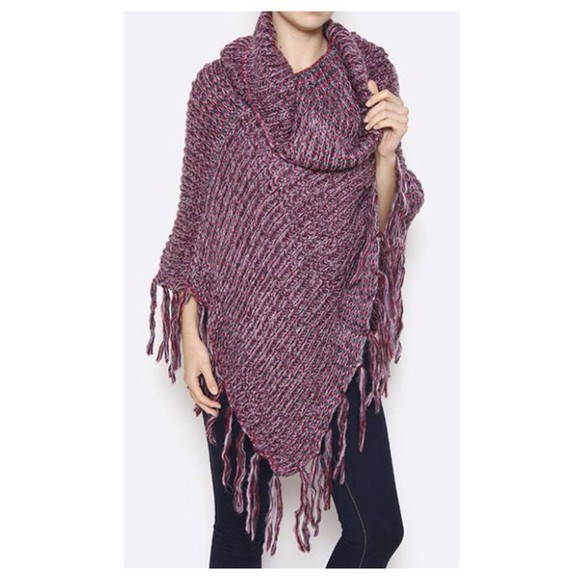 poncho knitwear burgundy cowl neck fringes
