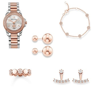 andy sparkles blogger peach nude salmon watch charm bracelet earrings jewels jewelry ear jacket earrings double sided earrings