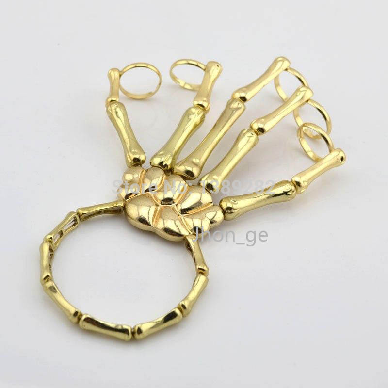 Fashion Style Gold Halloween Hand Skull Skeleton Elastic Bracelet Bangle   Rings RCH Cool Free Shipping-in Bangles from Jewelry on Aliexpress.com | Alibaba Group