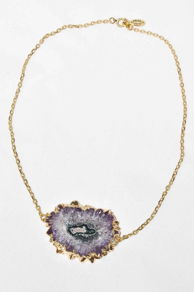 Large Stalactite Amethyst Slice Druzy Crystal Pendant Necklace | SIMONA MAR