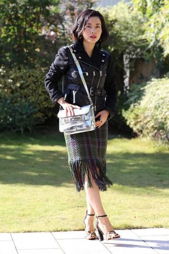 fetish tokyo blogger jacket skirt jewels bag shoes black jacket metallic bag shoulder bag high heel pumps leopard print high heels