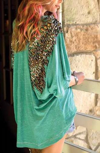 shirt blue shirt angel wing tshirt green dress t-shirt wings gems gemstone gold angel wings flowy top diamonds embellished