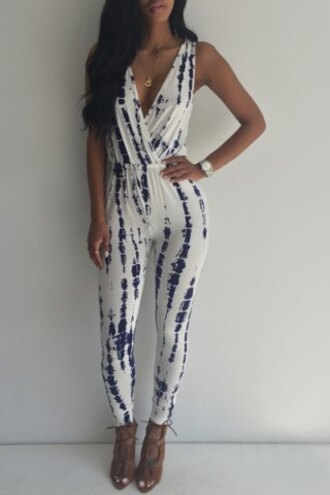 jumpsuit summer white blue fashion style sexy tie dye outfit
