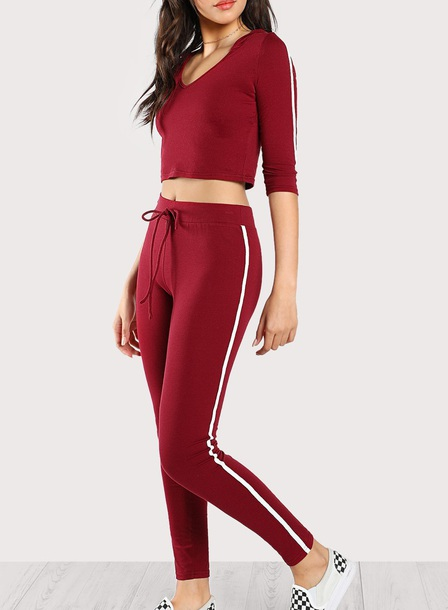 jumpsuit girly red white stripes two-piece matching set crop tops crop cropped leggings