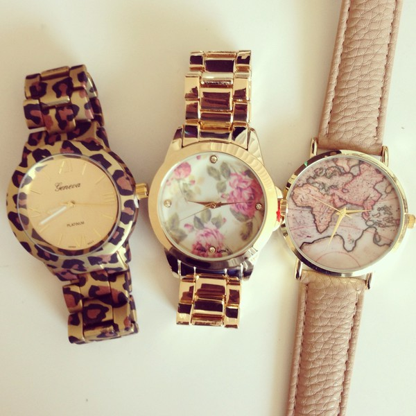 jewels watch leopard print map print