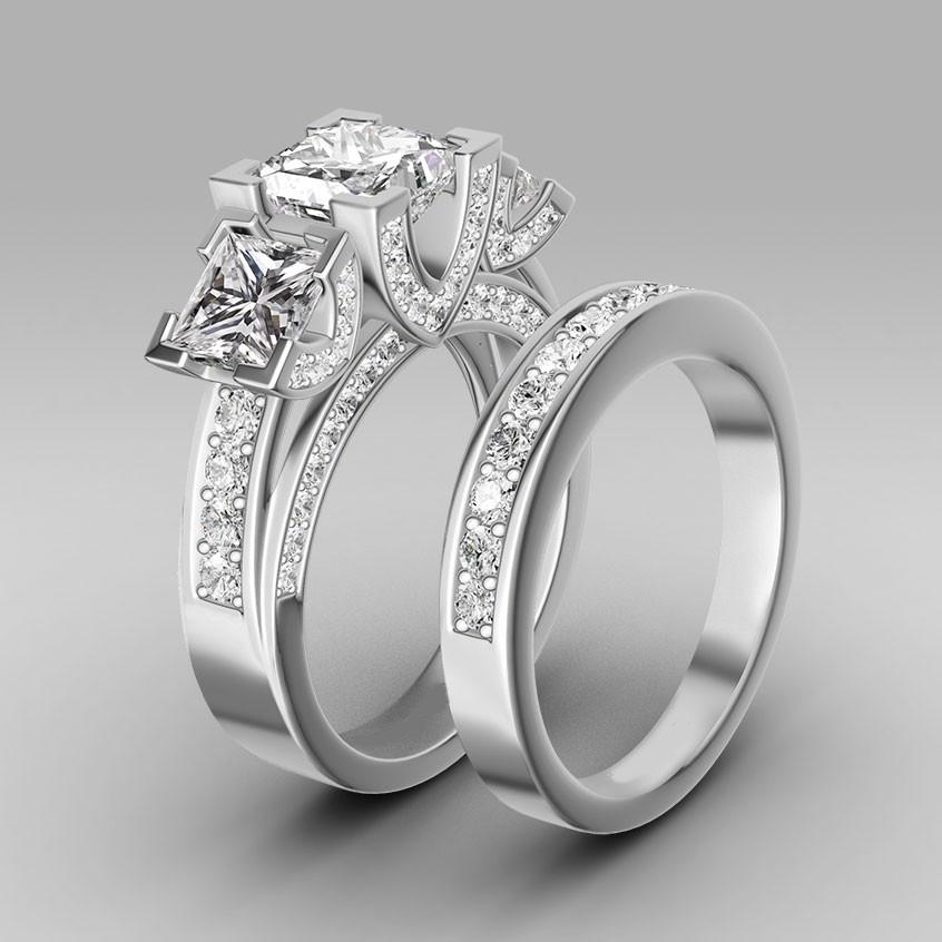 Turkish Engagement Couple Rings Princess Cut Sapphire Womenu0026#39;s Three Stone Wedding Ring Set Top ...
