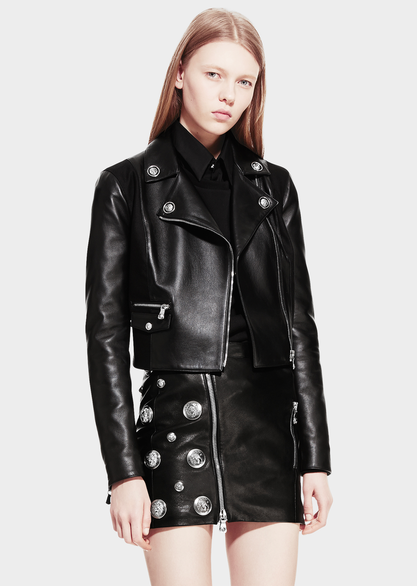 886f869a4d Versus Versace Leather studded biker jacket for Women | US Online Store