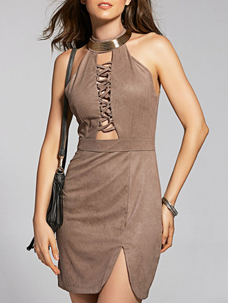 dress suede brown summer bodycon dress fashion style trendy zaful