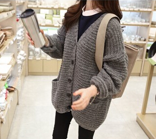 Chunky knit cardigan with front pockets