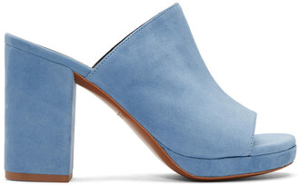 mules blue suede shoes