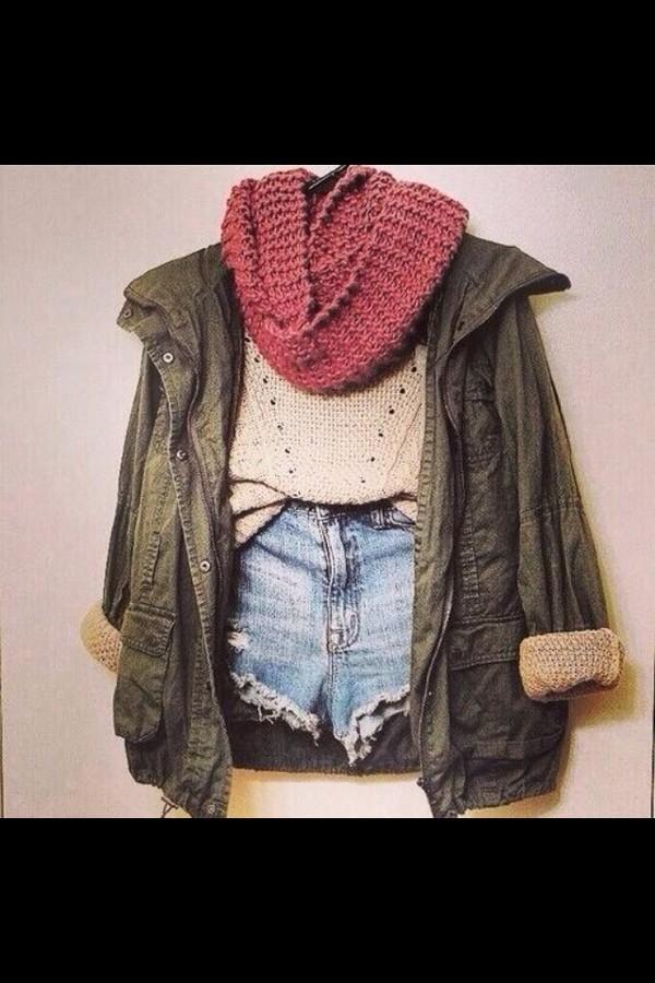 scarf coat sweater shorts